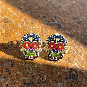 Sugar Skull Post Earrings